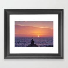 Man Enjoying Sunset Framed Art Print
