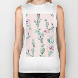Cactus Rose Pattern on Pink Biker Tank