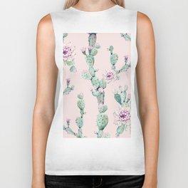 Cactus Rose Pattern on Pink Biker Tank