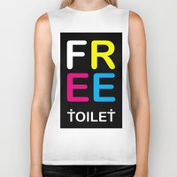 toilet Biker Tanks featuring TOILET CLUB #free by Toilet Club