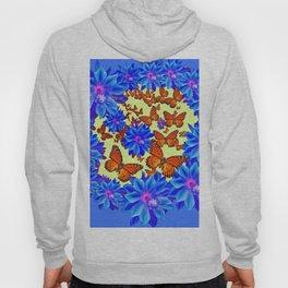 Orange Butterflies Blue  Floral Wreath art Hoody