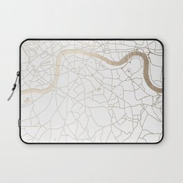 White on Gold London Street Map Laptop Sleeve