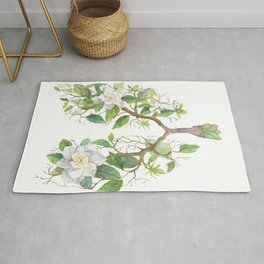 Floral Lungs Anatomy with Flowers, Breathing Gardenia Rug