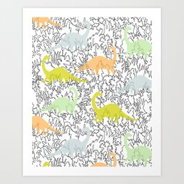 Dinosaur Ghosts Pattern Art Print