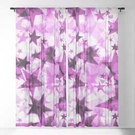 Metallic purple glowing dark golden stars on a light background in the projection. Sheer Curtain