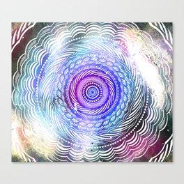 Modern Mandala Spiral Galaxy Space Textured Multi Colored / Purple Pink Orange Gray Black Canvas Print