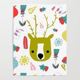 cute Christmas deer Poster