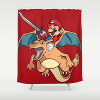 attack on titan Shower Curtains featuring Mario Attack (parody) by franz