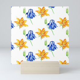 Columbine and Lily Hand Painted Diagonally Repeating Floral Pattern Mini Art Print