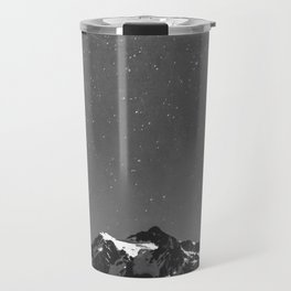Summer Stars Black and White - Galaxy Mountain Reflection Travel Mug