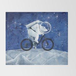 Polar bear on the Moon Throw Blanket