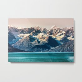 Scenic Alaskan nature landscape wilderness at sunset. Melting glacier caps. Metal Print