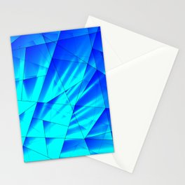 Bright sunshine on celestial and blue triangles of irregular shape. Stationery Cards
