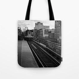Black and White J Train Tote Bag