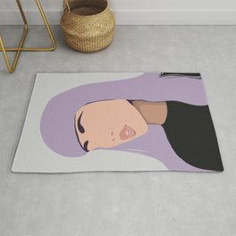 Harlow - portrait of a woman with purple hair Rug