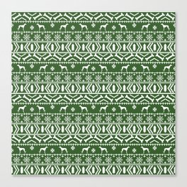Whippet fair isle dog breed pattern christmas holidays gifts dog lovers green and white Canvas Print