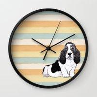 the hound Wall Clocks featuring Basset Hound by Tammy Kushnir