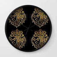 fleur de lis Wall Clocks featuring Fleur De Lis by Saundra Myles