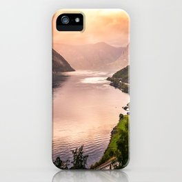 Fjord at sunset iPhone Case