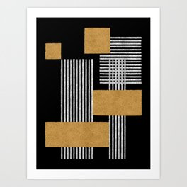 Stripes and Squares on Black Composition - Abstract Art Print