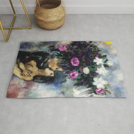 Lovers Under Calla Lilies & Flowers by Marc Chagall Rug