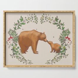 Bears in Forest Wreath Serving Tray