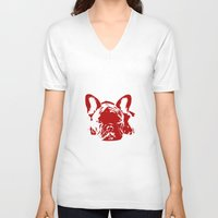 frenchie V-neck T-shirts featuring Frenchie by Red Eyes Apparel