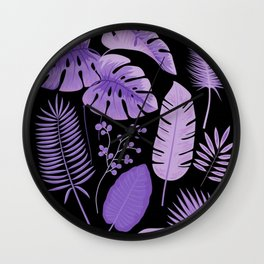 Purple leaves Wall Clock