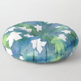 Meeples in Blue Floor Pillow