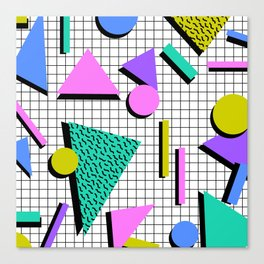 80s Retro Geometric Pattern 2 Canvas Print
