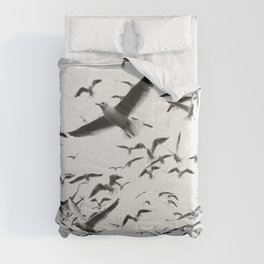 FLOCK - OF - SEAGULLS - FLYING - OVER - RIPPLING - RIVER - PHOTOGRAPHY Comforters