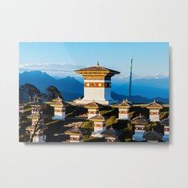 Bhutan: Sunset on Dochula Pass with Himalaya in background Metal Print
