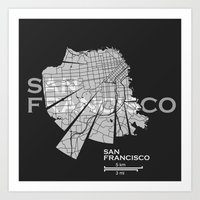 san francisco map Art Prints featuring San Francisco Map by Shirt Urbanization