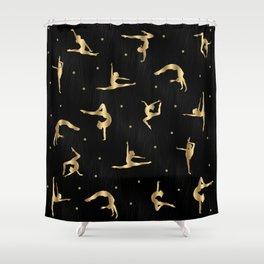 Black and Gold Gymnastics Shower Curtain