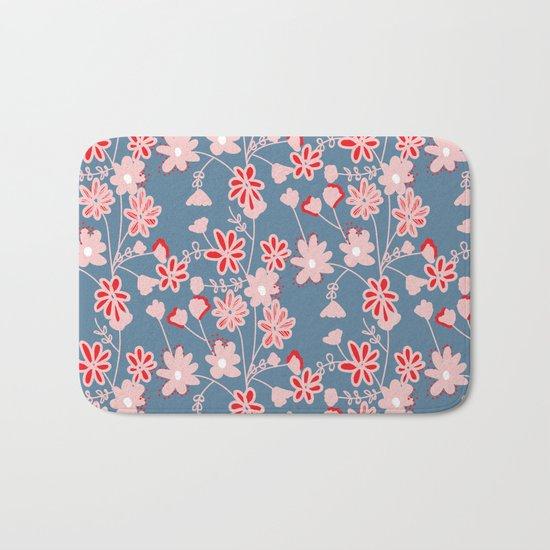 Red-Pink Flower Pattern Bath Mat