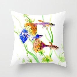 Guppy Fish colorful fish artwork, blue orange Throw Pillow