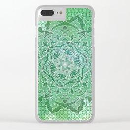 Green Power Mandala Pattern Clear iPhone Case
