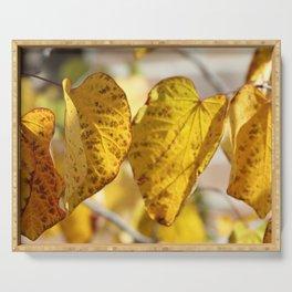 golden leaves Serving Tray