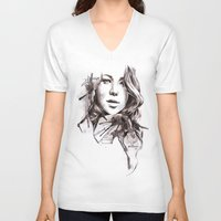 jennifer lawrence V-neck T-shirts featuring Jennifer Lawrence by dariemkova