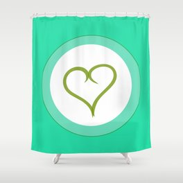 Green Heart with Love Shower Curtain