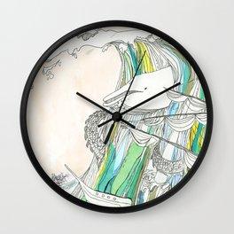 Whale Tital Wave Wall Clock