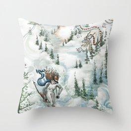 Winter Ski Dragon Throw Pillow