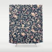 bedding Shower Curtains featuring Navy Garden - floral doodle pattern in cream, dark red & blue by micklyn