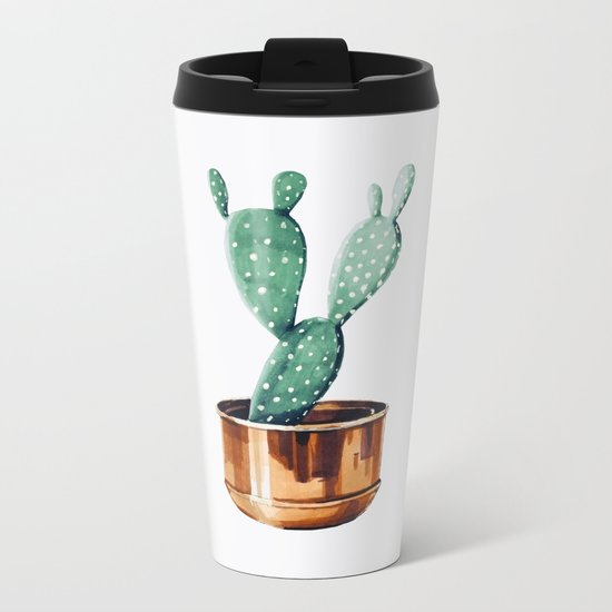 Potted Cactus Bronze Copper Metal Travel Mug