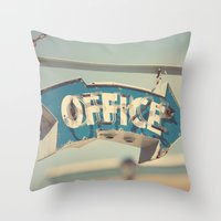 the office Throw Pillows featuring Office by bomobob
