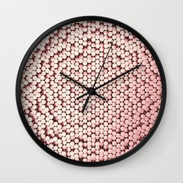 Pattern of red brushed metal cylinders Wall Clock