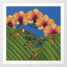 Tree Frog with Orchids Art Print