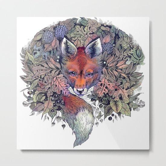 Hiding fox rainbow Metal Print