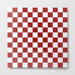 Cranberry Red and White Checkerboard Pattern Metal Print