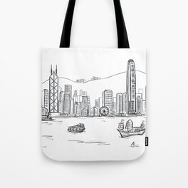 Hong Kong Harbour View Sketching Tote Bag
